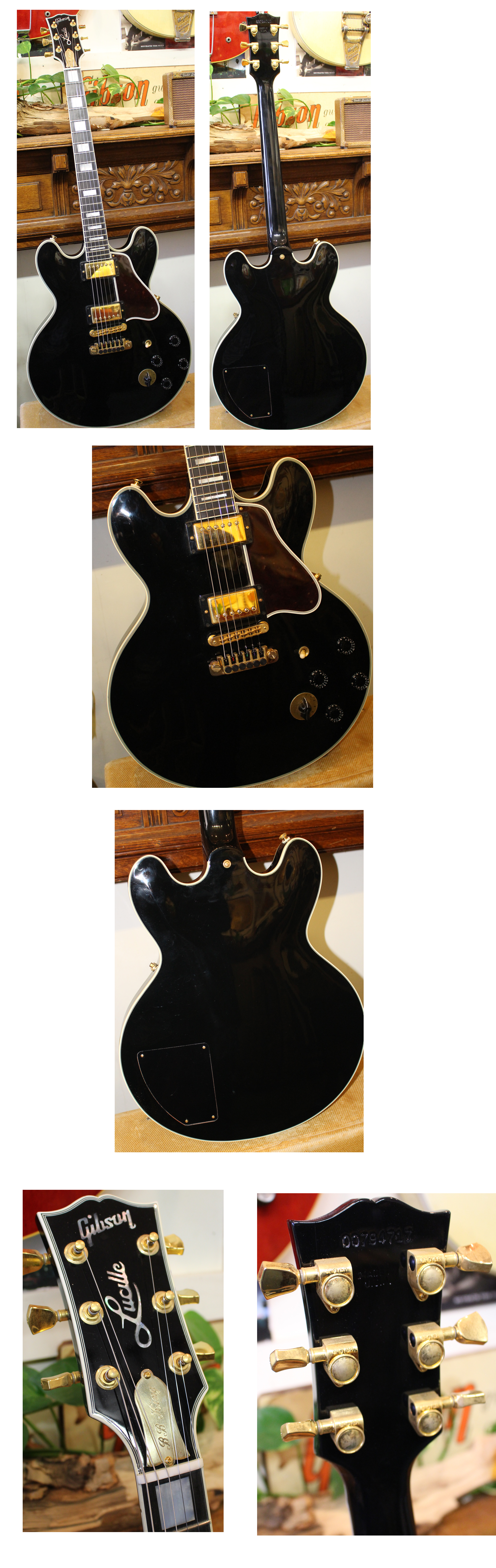 Stock Electric Guitar Parts Diagram String Finger Numbering And Etc 4450 Gibson Lucille 2004 Black All Original With Tp 6 Fine Tuning Tailpiece Varitone Gold Hardware Bb King Truss Rod Cover On Case Exc