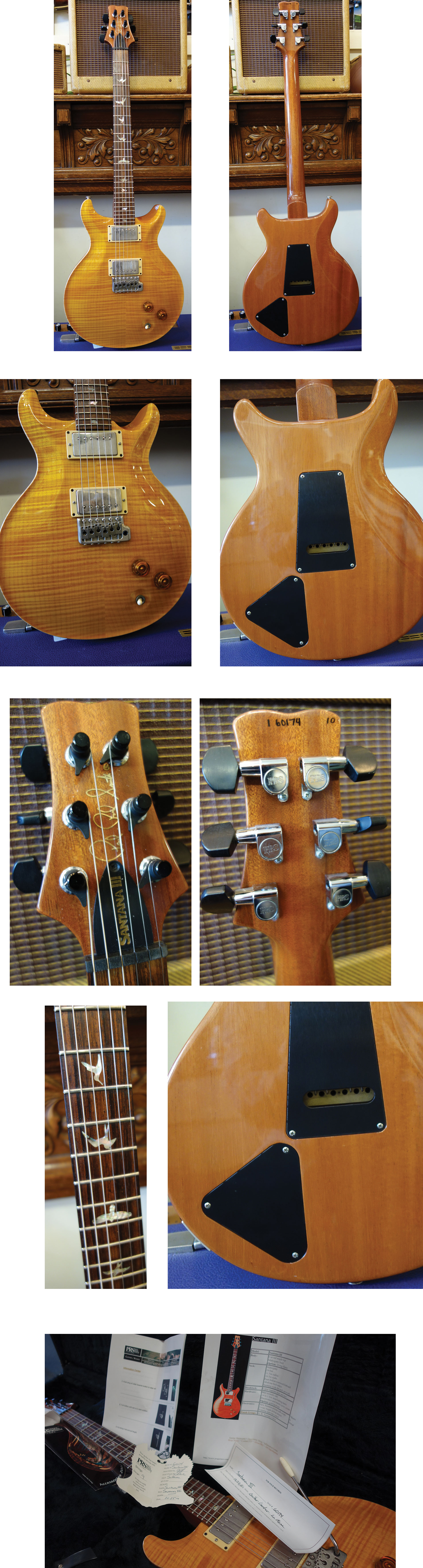 lark street music just in2001, santana yellow, carved maple 10 top, mahogany back and neck, indian rosewood board with abalone bird inlays, santana wide fat neck carve,